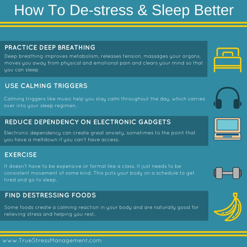 how to de-stress sleep better
