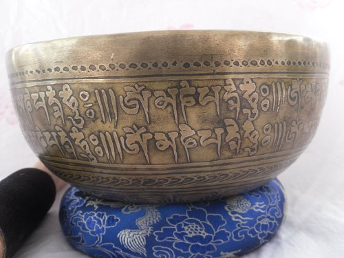 "NHH Mantra Carved 10"" Crown B Tibetan Singing Bowl"
