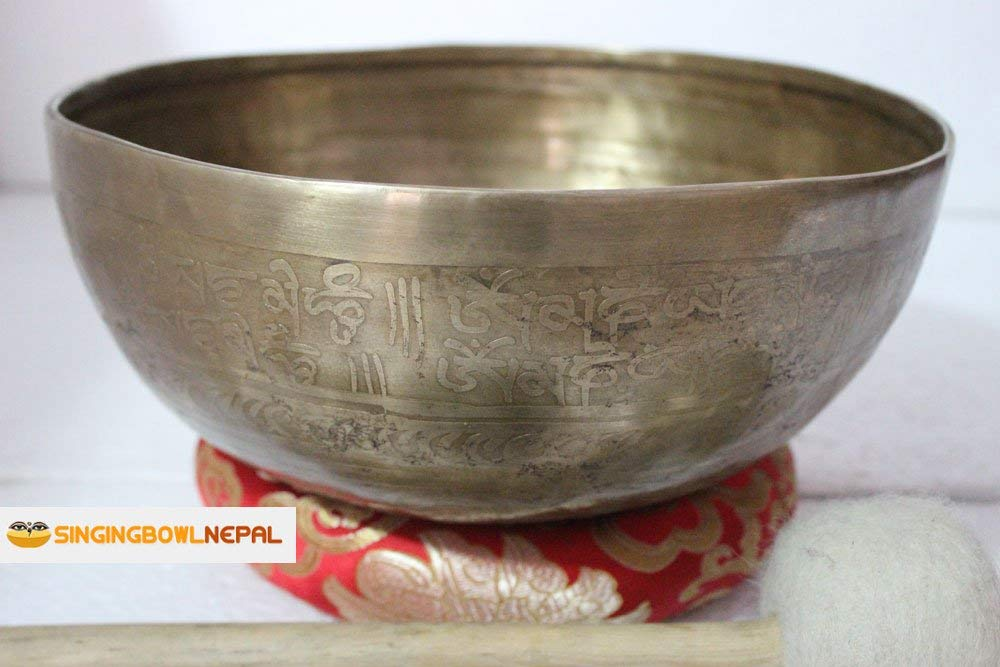 "Singing Bowl Nepal 11"" F Note Master Healing Mantra Carved Singing Bowl"