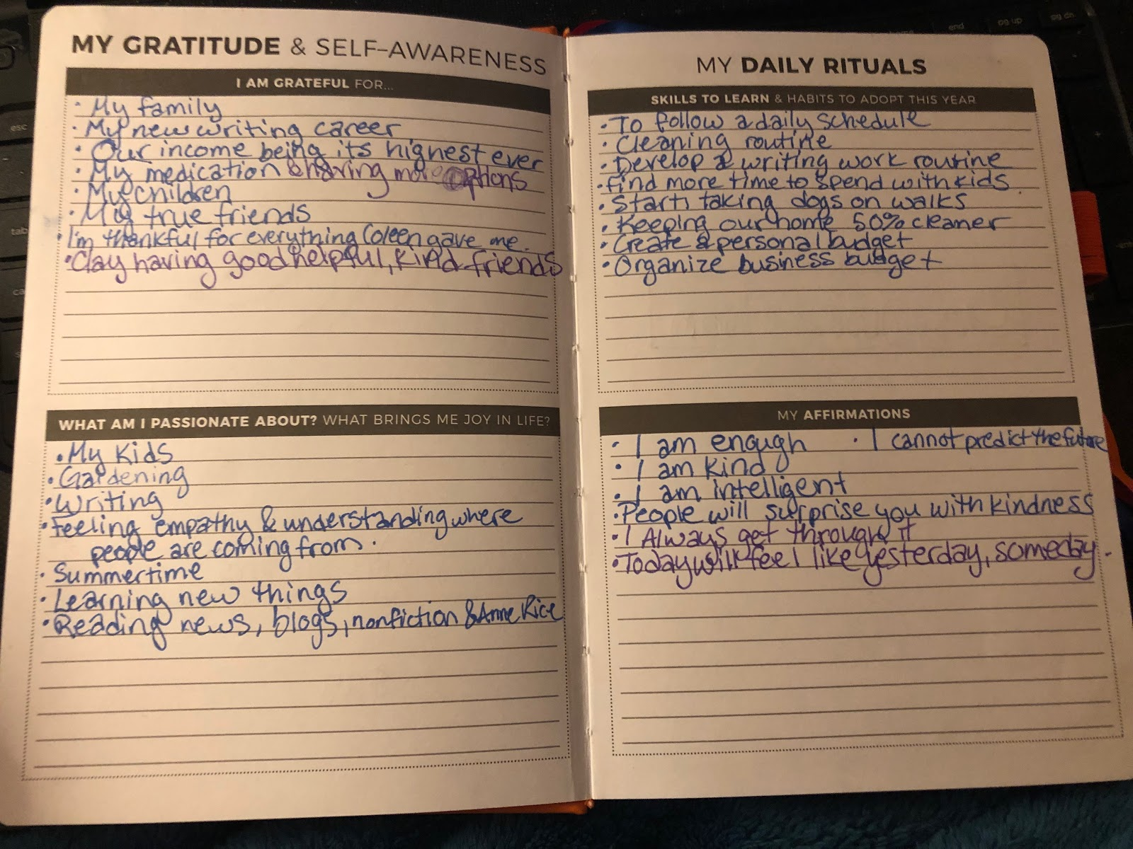 filling out the clever fox planner rituals